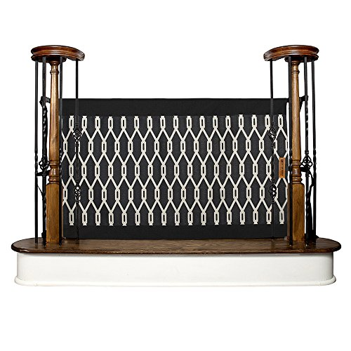 The Stair Barrier Baby and Pet Gate – Banister-to-Banister - Retractable Fabric Safety Gate Wide and Regular Sizes - Made in the USA  – Onyx