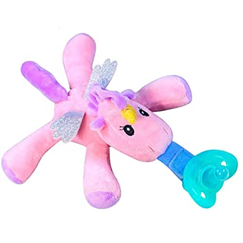 Puppy Makes Mischief Stuffed Animal, Amazon Com Infant Soothie Snuggle Pacifier With Detachable Plush Toy Bpa Free Silicone Pacifier Teether Stuffed Animal Unicorn Pacifier Holder 5 Long Baby