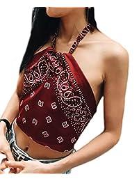 Women's Halterneck Crop Top Vest Tank Tops