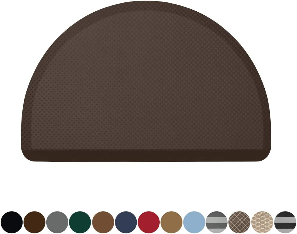 Kangaroo Original Commercial Grade Standing Mat Half Circle Kitchen Rug, Anti Fatigue Comfort Flooring, Phthalate Free, Non-Toxic, Salon, Rugs for Office Stand Up Desk, Half Round, Brown