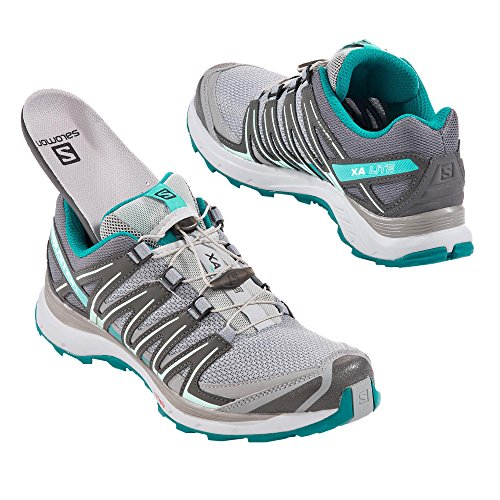 Salomon Xa Lite W, Zapatillas de Trail Running para Mujer Gris (Quarry/Quiet Shade/Deep Peacock Blue)