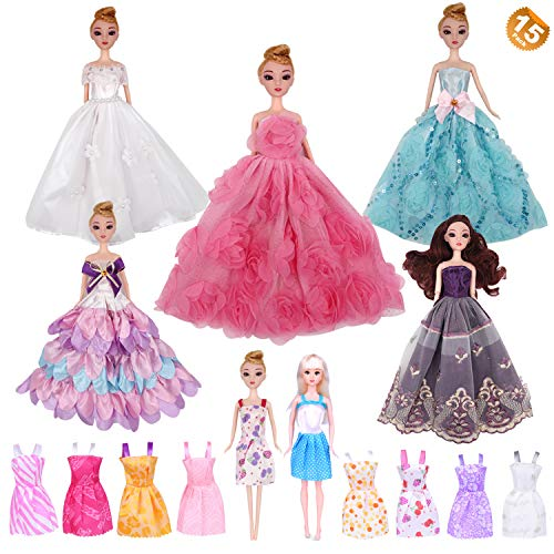 EuTengHao 15Pcs Barbie Doll Clothes Dresses Set Contains 5 Pack Different Handmade Barbie Clothes Wedding Party Gown Outfits Dresses and 10 Different Summer Princess Dresses Clothing for Barbie Doll by EuTengHao