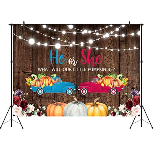 Fall Gender Reveal Ideas (Aperturee He or She Gender Reveal Backdrop 7x5ft Autum Fall Harvest Festival Blue or Pink Car Trucks with Pumpkins Photography Background Floral Brown Wooden Party Decoration Photo Booth)