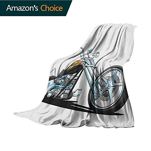 "Manly Leisure Blanket,American Chopper Motorcycle Competitions Tough Wild Cool Sport Soft Fabric for Couch Sofa Easy Care,30"" Wx50 L Charcoal Grey White Pale Blue"