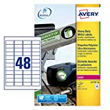 Avery L4778-20 (45.7 x 21.2mm) Extra-Strong Adhesive Heavy Duty Weatherproof Labels, 48 Labels Per A4 Sheet