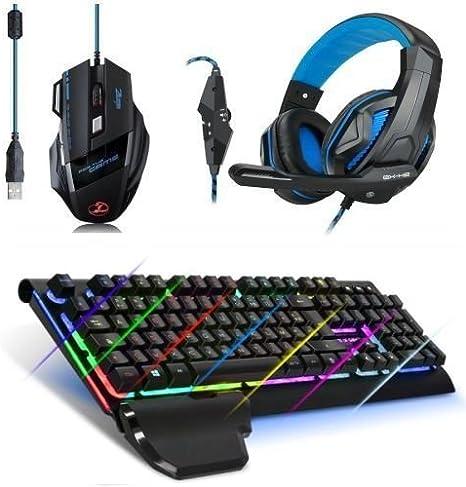 Pack Gaming Deluxe para PC: teclado + ratón + auriculares Micro ...