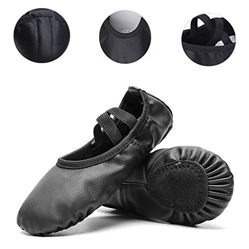 Leather Ballet Dance Split-Sole Slipper Shoes for Toddler Girl Kid Women (Toddler 9 M/EU 25, (Toddler Girls Black Leather)