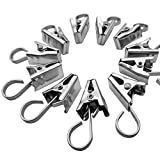 Kaimao 50 Pack Stainless Steel Curtain Clips Hook Set Multi-purpose Hanging Clips for Curtain, Photos, Home Decoration