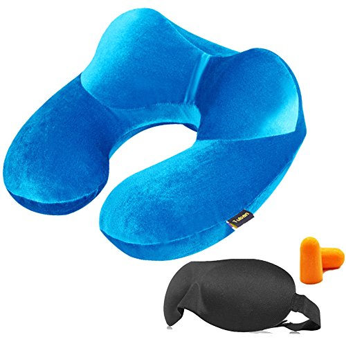 3-in-1 Deluxe Travel Pillow Inflatable Aeroplane Velvety Neck Pillow Comfy Head Rest Cushion + 3D Sleeping Eye Mask + Ear Plugs + Carry Pouch Pillow Set for Travel, Car, Train, Home, Office, Camping