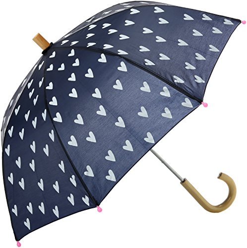 Hatley Girls' Little Printed Umbrellas, Navy and White Hearts, One Size -