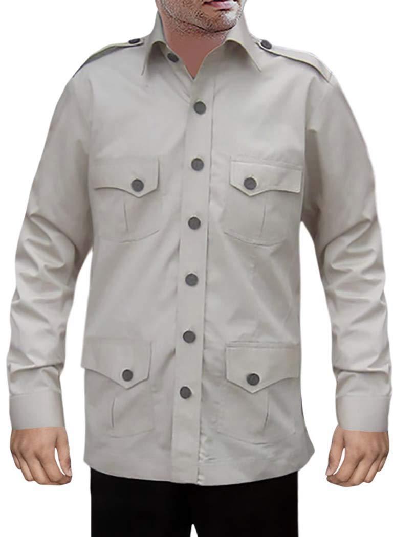 INMONARCH Mens Hunting Shirts Safari Cotton 4 Pocket Boy ScoutUniform Bush Shirts HS112X-LARGE X-Large LightGray by INMONARCH