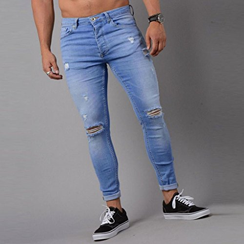 dda18864 iMakcc Jeans Men Skinny Feet Frayed Destroyed Jeans Slim Ripped Distressed  Denim Pant (M,