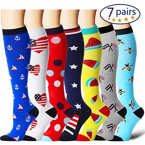 Patriotic Stocking - Bluemaple Compression Socks for Women & Men - Best for Running, Athletic Sports, Crossfit, Flight Travel -Maternity Pregnancy, Shin Splints - Below Knee High