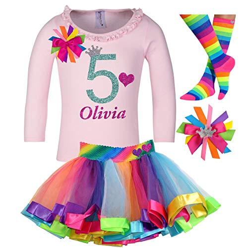 (5th Birthday Outfit Long Sleeve Shirt Rainbow Tutu Skirt Girls 4PC Party Gift Set Custom Name Age)