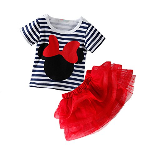 Mud Kingdom Toddler Girls' Cartoon Cute Set T-Shirt and Tutu Skirt Outfit 24M