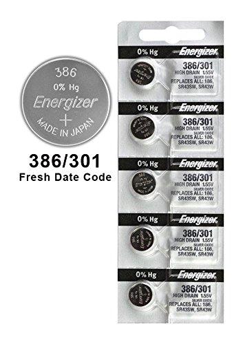 (100X Energizer 386/301 Battery Silver Oxide Watch Button High-Drain 1.55V SR43SW)