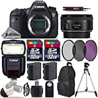 Canon EOS 6D DSLR Camera + 50mm 1.8 STM Lens + Speedlite 430EX III RT + 64GB Storage + Backup Battery + UV-CPL-FLD Filters + Wrist Grip Strap + Wireless Remote Control - International Version