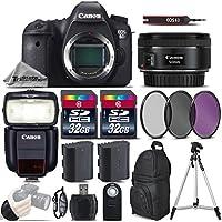 Canon EOS 6D DSLR Camera + 50mm 1.8 STM Lens + Speedlite 430EX III RT + 64GB Storage + Backup Battery + UV-CPL-FLD Filters + Wrist Grip Strap + Wireless Remote Control - International Version