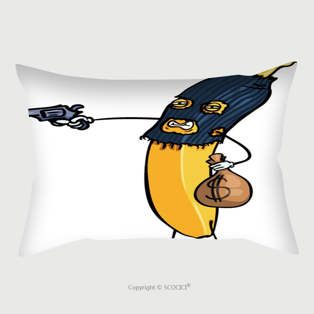 Custom Satin Pillowcase Protector Vector Cartoon Character Banana Rob The Bank With A Gun 521832817 Pillow Case Covers Decorative by chaoran