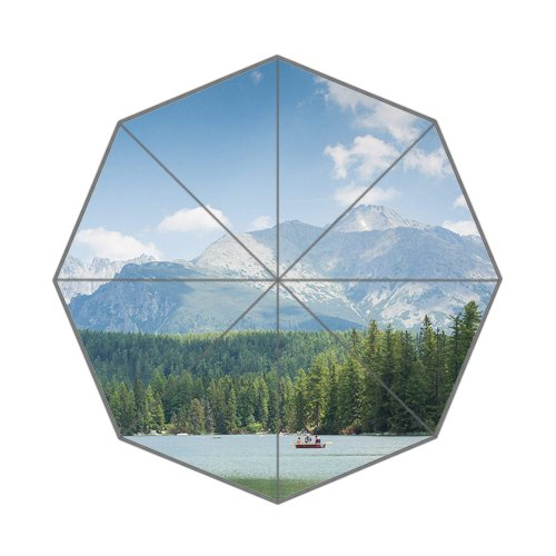 Flipped Summer Y High Tatras Mountains Panorama Scenery with Lake and Woods Customized Art Prints Umbrella by Flipped Summer Y