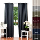 """Best Home Fashion Basic Thermal Insulated Blackout Curtains - Back Tab/Rod Pocket Grommet Top - Black - 52""""W x 84""""L  No tie back (1 Panel)"""