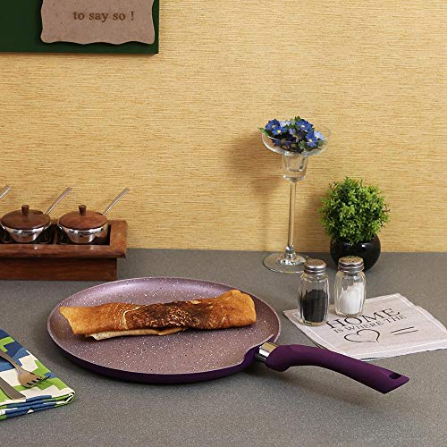 Wonderchef Royal Velvet Non-Stick, PFOA-Free and Nickel-Free Aluminum Indian Cooking Dosa Tawa Crepe Pan, 28cm, Violet