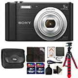 Sony Cyber-shot DSC-W800 Digital Camera (Black) + 32GB Memory Card + Wallet + Reader + Case + 3pc Cleaning Kit + Flexible Tripod