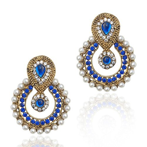Traditional Ethnic Indian Traditional Stone Jewelry Earring Blue b332b
