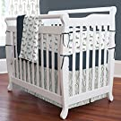 Carousel Designs Navy and Gray Deer Mini Crib Bumper