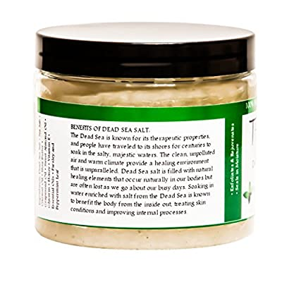 Premium Taza Peppermint Dead Sea Salt Scrub, 473 ml 24 oz (670 g) ? Exfoliates Your Skin Leaving it Soft and Hydrated ? Contains: Coconut Oil, Shea Butter, Grapeseed Oil, Sweet Almond Oil, 26 Minerals