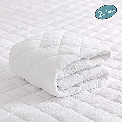 """MoMA Waterproof Crib Mattress Cover (Set of 2) - 52x28"""" White Crib Mattress Protector - Soft Fitted Baby Crib Mattress Pad with 9-inch Pocket - Hypoallergenic Bamboo Fiber Toddler Mattress Pad"""