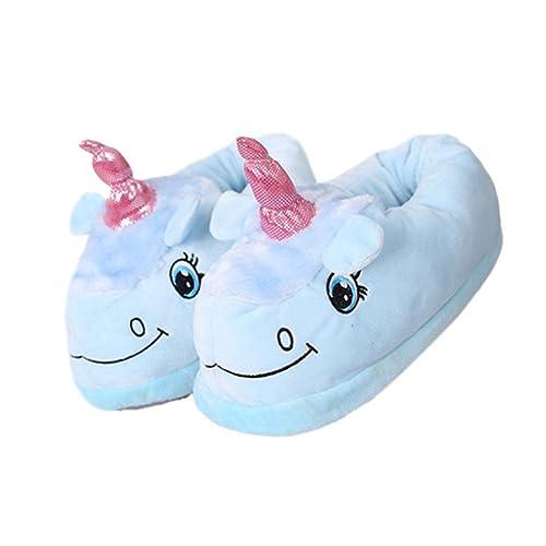 YUWELL Unicornio Zapatillas Mujer Invierno de Cálido Halloween Felpa Suave Calentar Pantuflas Zapatos,35-