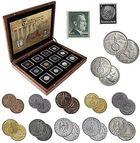IMPACTO COLECCIONABLES Monedas Antiguas - 12 Monedas + 2 Sellos de Alemania, Colección Segunda Guerra Mundial 1939-1945: Amazon.es: Juguetes y juegos