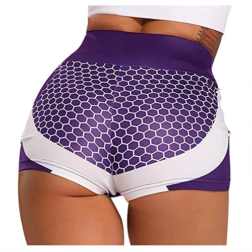 Pinkpaopao Women's Hive Plain Print Fitness Yoga Shorts High Waist Quick Dry Bike Slim Fit Stretch Sports Shorts Tight Pant(Purple,XL)