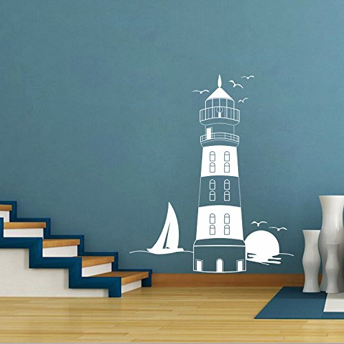 DecalMile White Lighthouse Wall Stickers Sunset Seagull Sailboat Removable Wall Decals Murals for Living Room Bedroom (Nautical Wall Stickers)
