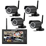 PUTECA 7 Inch TFT Digital 2.4G Wireless Cameras Audio Video Baby Monitors 4ch Quad DVR Security System with IR Night Vision Cameras
