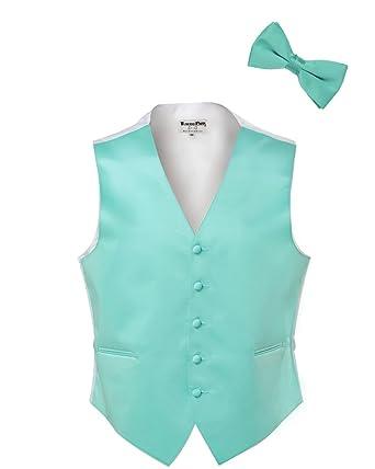 Tiffany Blue Satin Tuxedo Vest And Bow Tie At Amazon Mens Clothing