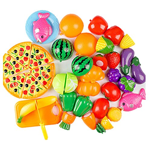 - Ghazzi 24 Pieces Kitchen Dinner Fun Play Food Set Developmental Intelligence Toy for Kids Puzzle Educational Learning Toy Growing Experiment Gift Toy Pretend Toy Toddlers Toy (Multicolor)