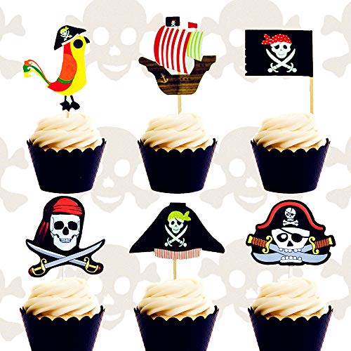 30PCS JeVenis Pirate Cake Topper Pirate Party Themed Cake Decorations Pirate Party Cupcake Toppers for Pirate Ship Theme Party Ocean Birthday Baby -