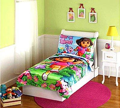 [Dora the Explorer Satin Toddler Bedding Set] (Dora Explorer Toddler Bedding Set)