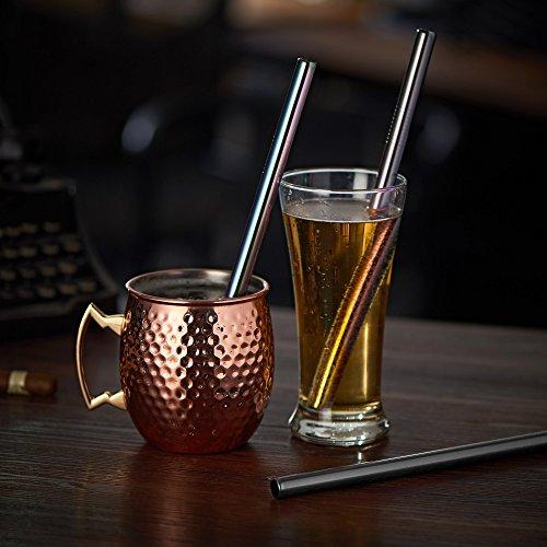JOYECO 4 Pcs Stainless Steel Boba Straws, FDA Approved Straight Big Straws Smoothies Reusable, Wide Straw 9.5″ x 0.5″ for Bubble Tea, Juice, Thick Milkshakes