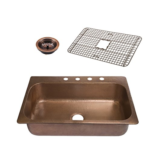 - Sinkology SK101-33AC4-WG-B  Angelico 4-Hole Copper Drop-In Kitchen Sink Kit With Roe Bottom Grid And Strainer Drain Copper Kitchen Sink, 33 X 22 X 8, Antique Copper