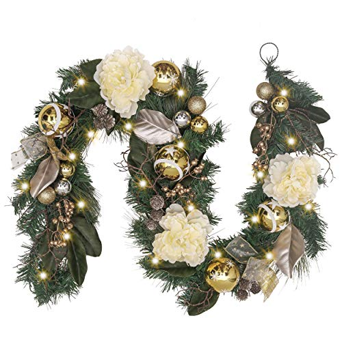 Valery Madelyn Pre-Lit 6 Feet/72 Inch Elegant Champagne Gold Christmas Garland with Shatterproof Ball Ornaments, Ribbon, Artificial Flower, Battery Operated 20 LED Lights (For Mantle Decor Christmas)