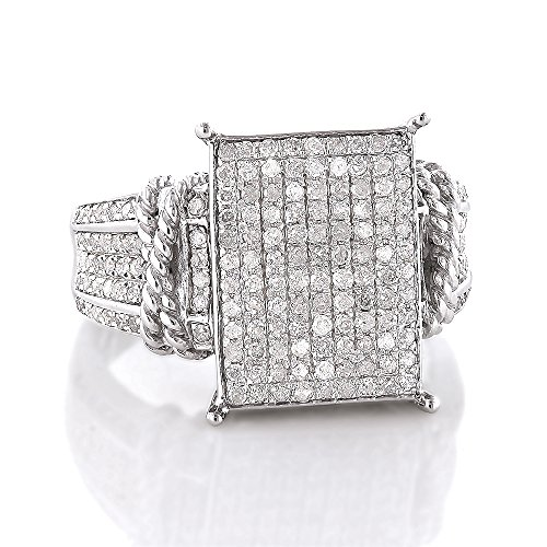 Sterling Silver Ladies Affordable Natural 0.6 Ctw Diamond Rhodium Plated Engagement Ring (Size (Diamond Silver Eternity Ring)
