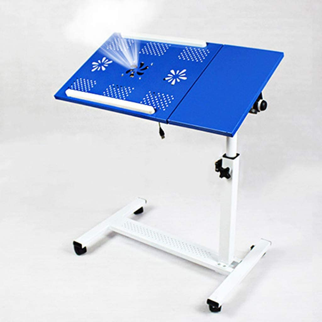 Color : Black ZH Folding Tables Rolling Laptop Table with Fans Notebook Stand Desk Hospital Table Stand Lockable Casters 65x36x65-95cm Height Adjustable