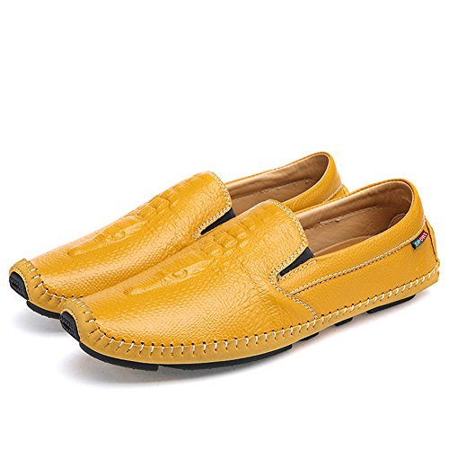in Herren Fit Comfort Loafer Casual Krokodilmuster Gelb on Sunrolan Slip Lederschuhe zdqzwZ