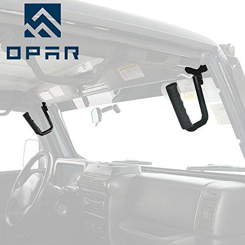 Opar Solid Steel Front GraBar Grab Handles for 97-06 Jeep Wrangler TJ & Unlimited (Black)