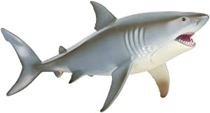 KEYUM Large Great White Shark Toy, Realistic Educational Ocean Animal Shark Figurine Plastic Sea Creature Cake Topper Shark Figure for Kids Toddlers