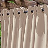 DFOHome Beige Extra Wide Outdoor Curtain with Nickel Grommets 120'' W x 84'' L