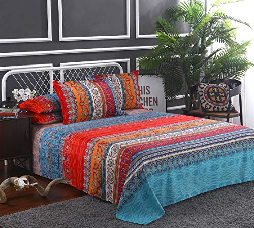Omelas Bohemian Sheet Set Full Size Boho Colorful Tribal Striped Bed Sheets Set Super Soft Microfiber, 16